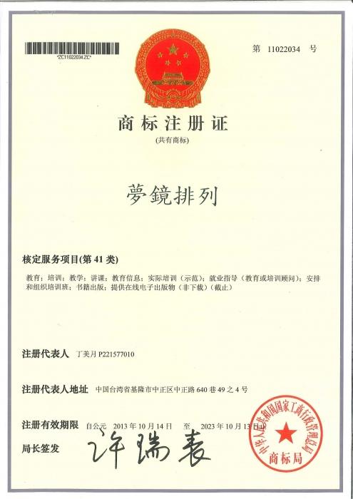 中國夢鏡排列商標權